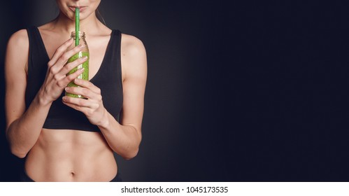 sports nutrition. the girl drinks smoothies