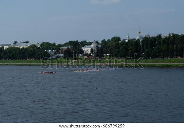 Sports on Volga river in Tver, Russian Federation