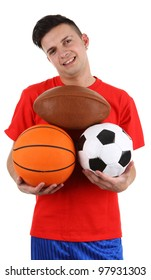 A sports player holding different balls, isolated on white