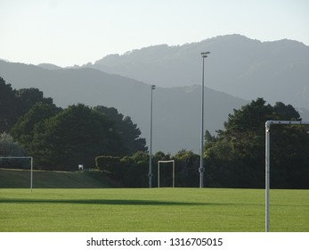 Sports playing fields at Sladden Park Lower Hutt with Eastern hills in background New Zealand