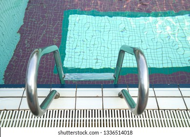 Sports or recreation icons or concept : swimming pool with stair or steps
