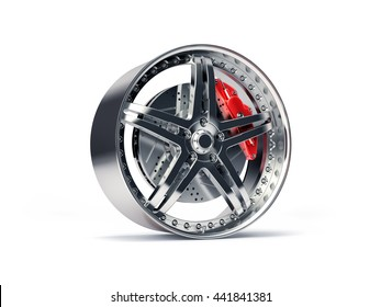 Sports Rim with ventilated and perforated brake discs and red caliper