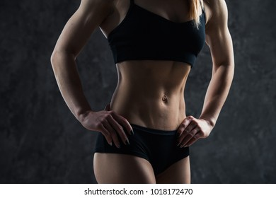 Fit Woman Belly Images Stock Photos Vectors Shutterstock Close up of young woman's waist in shorts and a crop top in the summer. https www shutterstock com image photo sports sexy girl big muscle belly 1018172470