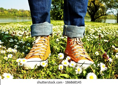 Sports Shoes and grass
