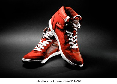 sports shoes red sneakers