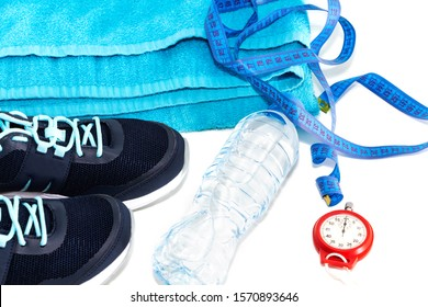 sports shoes, water bottle, healthy lifestyle concept, healthy food, sports and diet.