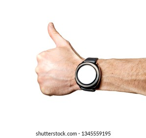 Sports smart watch on athlete's hand isolated on white background