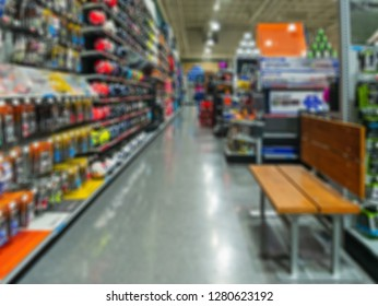 Sports store and goods in a blured background.