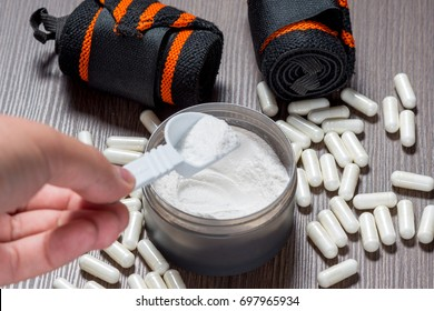 Sports supplements for bodybuilding. Protein, bcaa, capsules