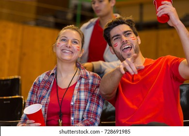 sports supporters wearing facepaint in the stands watching game