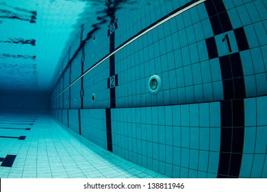 Sports Swimming Pool Underwater. Lanes Underwater, starting with number one. / Swimming Pool Underwater
