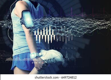 sports technology concept. stretching woman and various technological abstract graphics. sport science.