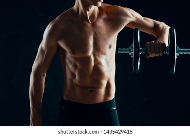 sports training dumbbells fitness gym athlete muscles