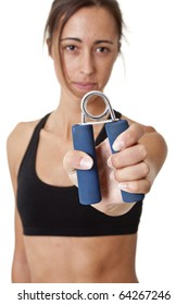 Sports Woman with hand grip training hand