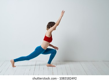 sports woman, morning exercises, gymnastics