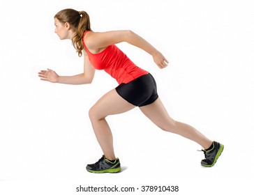 Sports Woman Running Race. Female Athlete Runner. Isolated