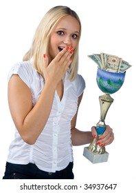 sports woman with trophy full of money