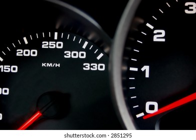 Sportscar dashboard closeup with backlit speedometer