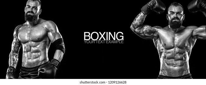 Sportsman, athlete muay thai boxer fighting. Boxing isolated on black background. Copy Space. Sport concept.