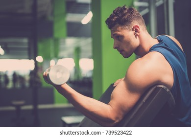 The sportsman doing biceps exercise with a dumbbell in the gym