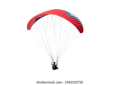 The sportsman flying on a paraglider. Beautiful paraglider in flight on a white background. isolated - Shutterstock ID 1965319735
