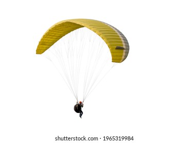 The sportsman flying on a paraglider. Beautiful paraglider in flight on a white background. isolated - Shutterstock ID 1965319984