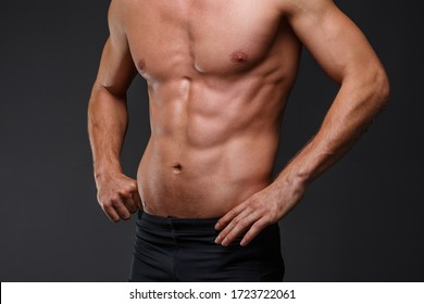 Sportsman with good abs are ready for exercise