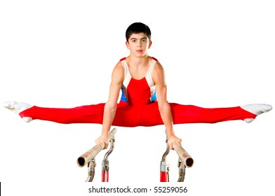 The sportsman the guy, carries out difficult exercise, sports gymnastics,on white background, isolated