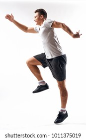sportsman jumping on isolated background, sport