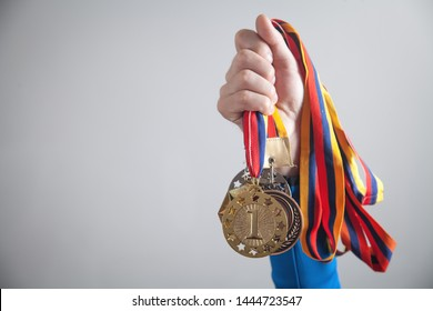 Sportsman with medals. Sport, Winner, Success