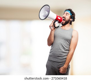 sportsman with a megaphone