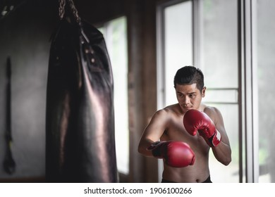 Sportsman muay thai boxer training with boxing bag in the gym