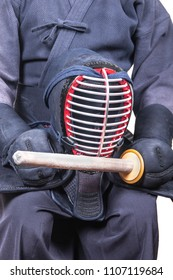 sportsman and protective helmet 'men' and bamboo sword 'sinai'  for Japanese fencing Kendo training close-up