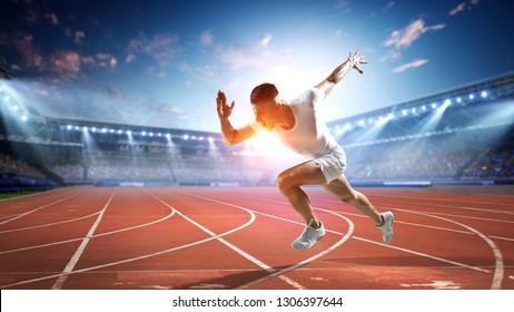 Sportsman running track. Mixed media