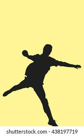 Sportsman throwing a ball against yellow background