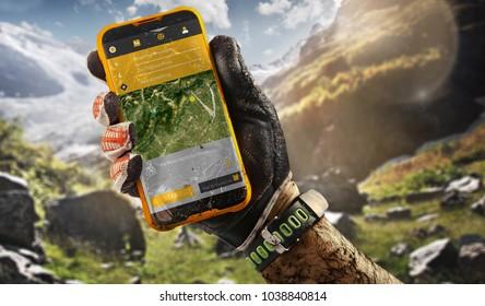 Sport.Tourism. GPS navigator in hand
