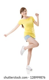 Sporty Asian girl feel relaxed and free, full length portrait isolated on white background.