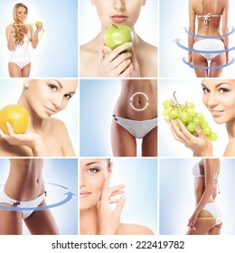 Sporty and beautiful female body with arrows (healthy eating, vitamins and nutrition collection)