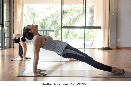 Sporty beautiful young woman practicing yoga, doing Purvottanasana, Upward Plank Pose, stretching shoulders, chest, ankles, strengthening arms, legs, working out wearing grey sportswear, studio