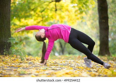 Sporty beautiful young woman practicing yoga, standing in Camatkarasana, Wild Thing or Flip-the-Dog posture, doing everyday morning routine, working out outdoors on autumn day. Full length