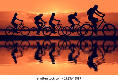 Sporty company friends on bicycles outdoors against sunset. Silhouette five 5 cyclist going along coast. sunlight. Sport team. Group of people.  Empty Copy Space for inscription.