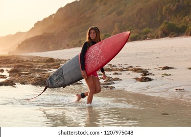 Sporty European woman in wetsuit, carries big surfboard, being fastened with leash to feel safe, looks thoughtfully aside, returns home after active day and hiting waves, cliff in background