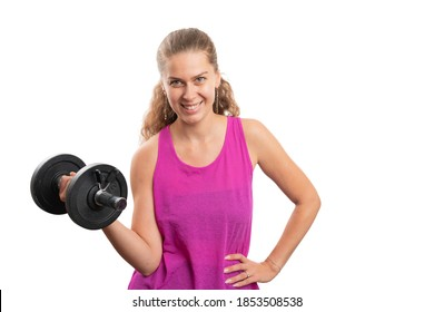 Sporty female model wearing pink sportswear tanktop smiling as working out using weigh dumbbells to tone biceps muscles isolated on white studio background with copyspace