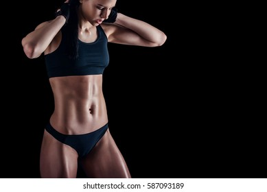 Muscle Toning High Res Stock Images Shutterstock Drapes loosely on the body. https www shutterstock com image photo sporty female perfect body against black 587093189