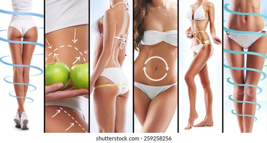 Sporty and fit female body with the arrows. Healthy eating, vitamins, fitness, sport and nutrition summer collage.
