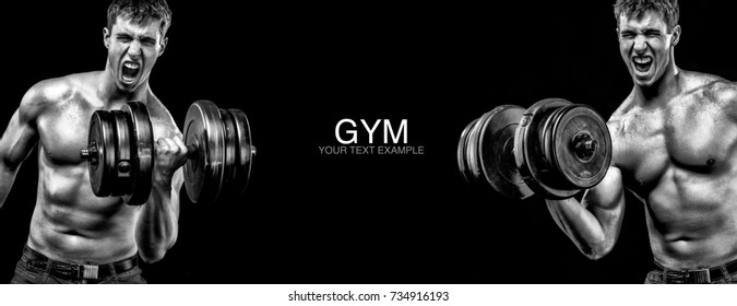 Sporty and fit man with dumbbell exercising at black background to stay fit. Workout and fitness motivation.