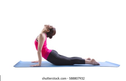 Sporty fit women practices yoga Anjaneyasana exercise bend yoga pose on rubber mat.