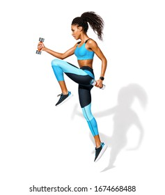 Sporty girl jumping with dumbbells. Photo of african american girl in fashionable sportswear on white background. Dynamic movement. Side view. Full length. Sports and healthy lifestyle