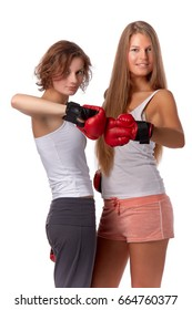Sporty girl in red fighting gloves on a white background.
