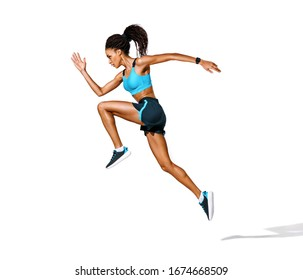 Sporty girl runner in silhouette. Photo of african american girl in fashionable sportswear on white background. Dynamic movement. Side view. Full length. Sports and healthy lifestyle